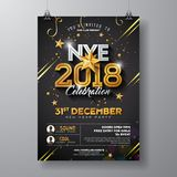 2018 New Year Party Celebration Poster Template Illustration with Shiny Gold Number on Black Background. Vector Holiday stock illustration