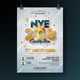 2018 New Year Party Celebration Poster Template Illustration with Shiny Gold Number on White Background. Vector Holiday. Premium Invitation Flyer or Promo Royalty Free Stock Photos