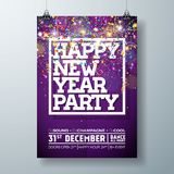 New Year Party Celebration Poster Template Illustration with Typography Design and Falling Confetti on Shiny Colorful. Background. Vector Holiday Premium Royalty Free Stock Image