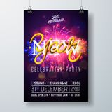 New Year Party Celebration Poster Template Illustration with Typography Design,and Firework on Shiny Colorful Background Stock Photography