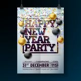New Year Party Celebration Poster Template Illustration with Typography Design, Glass Ball and Falling Confetti on Shiny. Colorful Background. Vector Holiday Royalty Free Stock Images