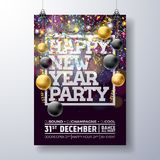 New Year Party Celebration Poster Template Illustration with Typography Design, Glass Ball and Falling Confetti on Shiny. Colorful Background. Vector Holiday Stock Images