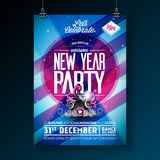 New Year Party Celebration Poster Template Illustration with Typography Design and Speaker on Shiny Colorful Background. Vector EPS 10 design Royalty Free Stock Photography