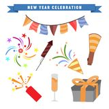 New Year Party Celebration Set Design. New Year Party Celebration Vector Graphic Illustration Design Package Set Bundle Special Stock Photo