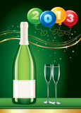 New year  party champagne wine with balloons Royalty Free Stock Images