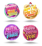 New year party and Christmas party banner set Stock Photos