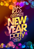 New Year party design with multicolored  bokeh lights backdrop. Royalty Free Stock Images