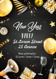 New year party design template with elements. Illustration of New year party design template with elements Stock Photo