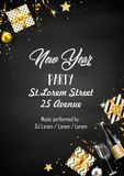 New year party design template with elements. Illustration of New year party design template with elements Royalty Free Stock Photo
