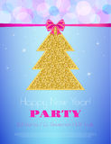 New Year Party design template. New Year Party  flyer. Vector template. Holiday Party invitation with ornaments, label and ribbon Stock Photography