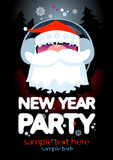New Year Party design template. New Year Party design template with Santa and place for text Stock Image