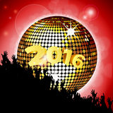 New Year party 2016 with disco ball and crowd. New Year Party 2016 with Crowd and Disco Ball Over Red Glowing Background Royalty Free Stock Photo