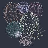 New Year party fireworks. Vector royalty free illustration
