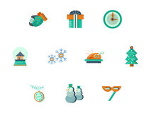 New Year party flat style icons set. New Year celebration icons and Christmas symbols. Flat color style collection. Elements of web design for business, website royalty free stock photo