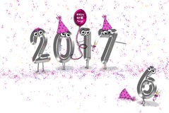 New Year 2017 party humor. New Year party humor with hats, confetti and balloon on white background Stock Photo