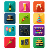 New Year party icons Royalty Free Stock Images