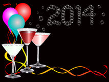 A 2014 new year party image. With balloons, drinks and party ribbons with 2014 bubbles lettering royalty free illustration