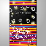 New Year Party invitation - bright laces on black. New Year Party invitation with bright laces on black background with snowflakes. With place for your text Royalty Free Stock Images