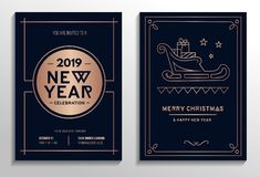 New Year party invitation cards with rose gold geometric design. And navy blue background. Vector illustration stock illustration
