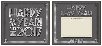 New Year Party Invitation 2017. Happy New Year Party Invitation Note 2017 Art Deco Style Royalty Free Stock Photo