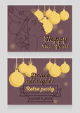 New year party invitation in retro style with beautiful flapper woman profile Stock Photo