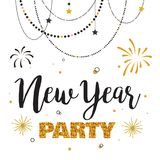 New year party invitation template. Vector illustration Stock Image