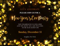 New Year party invitation. New Years party invitation with back golden lights and text. Bokeh background with copy space. Possible to create holiday cards or Stock Photos