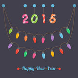 New year party light bulbs. Fairy party light bulbs, year 2015, happy new year sign hanging on dark background royalty free illustration
