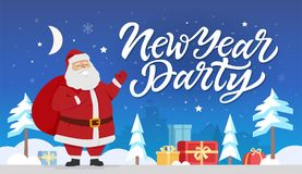 New Year party - modern cartoon characters illustration. With hand drawn brush pen lettering. Cheerful Santa Claus standing with presents in a night winter Royalty Free Stock Photos