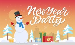 New Year party - modern cartoon characters illustration. With hand drawn brush pen lettering. Happy snowman standing with presents in a winter forest. Perfect Stock Photos