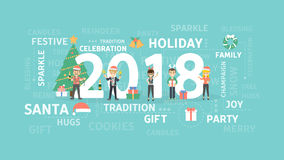 2018 New Year party. Happy people in costumes and christmas tree stock illustration