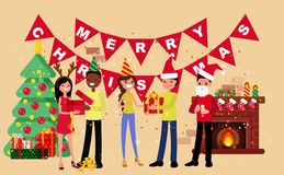 New Year party. Merry people in New Year`s costumes. Cartoon style Stock Photography