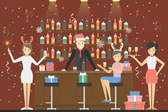 New year party. People in santa hat have fun at the bar vector illustration