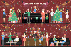 New year party. People in santa hat have fun at the club vector illustration