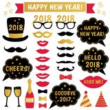 New Year 2018 party photo booth props stock illustration