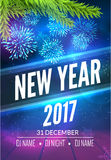 New Year party poster design with fireworks light. New year disco flyer template.  Stock Photos