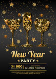 New Year party  poster design template with. Golden stars, snowflakes in gold drinking glass. New Year party  poster design template with. Golden stars Royalty Free Stock Image