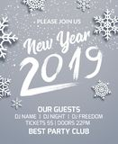 New year 2019 party poster invitation decoration design. Dance disco xmas holiday template background with snowflakes.  vector illustration