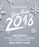 New year 2018 party poster invitation decoration design. Dance disco xmas holiday template background with snowflakes.  stock illustration