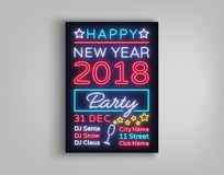 New Year 2018 party poster in neon style. Happy New Year. Invitation card for a winter party. Flyer, postcard, banner. Design template invitation for New Year Royalty Free Stock Photography
