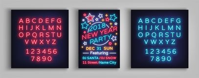 New Year 2018 party poster in neon style. Happy New Year. Invitation card for a winter party. Flyer, postcard, banner. Design template invitation. Vector Stock Images