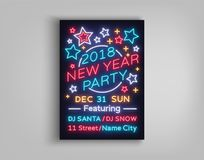 New Year 2018 party poster in neon style. Happy New Year. Invitation card for a winter party. Flyer, postcard, banner. Design template invitation for New Year Stock Photography