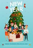 New Year Party Poster. With people around festive table under christmas tree on blue background vector illustration Stock Photography
