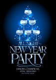 New Year party poster with silver stack of champagne glasses, decorated sparkling stars. Stock Photo