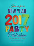 New Year 2017 party poster. New Year 2017 party poster template on blue background. Perfect for brochure or flyer. Vector illustration Royalty Free Stock Photography