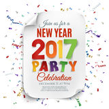 New Year party poster template with confetti. New Year party poster template with confetti and colorful ribbons. Curved, paper banner. Vector illustration Royalty Free Stock Images