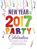New Year 2017 party poster template. New Year 2017 party poster template with confetti and colorful ribbons on white background. Vector illustration Stock Images