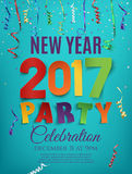 New Year 2017 party poster template with ribbons. New Year 2017 party poster template with confetti and colorful ribbons on blue background. Vector illustration Stock Photo