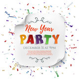 New Year party poster. New Year party poster template with ribbons and confetti  on white background. White, curved, paper banner. Vector illustration Stock Photo