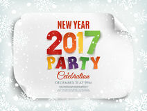 New Year 2017 party poster template. New Year 2017 party poster template with snow and snowflakes. Winter background. Perfect for brochure, flyer or poster Stock Photos